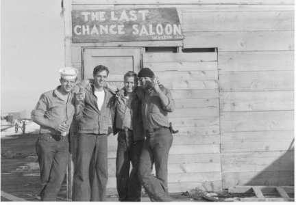 Crew Outside Last Chance Saloon